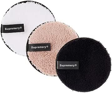 Supremery Makeup & Wash Pads, Set van 3   Wasbaar Gezichtsweefsel Make-up Remover   Herbruikbare microvezelpads grondige gezichtsreiniging alleen met water, zonder waslotion
