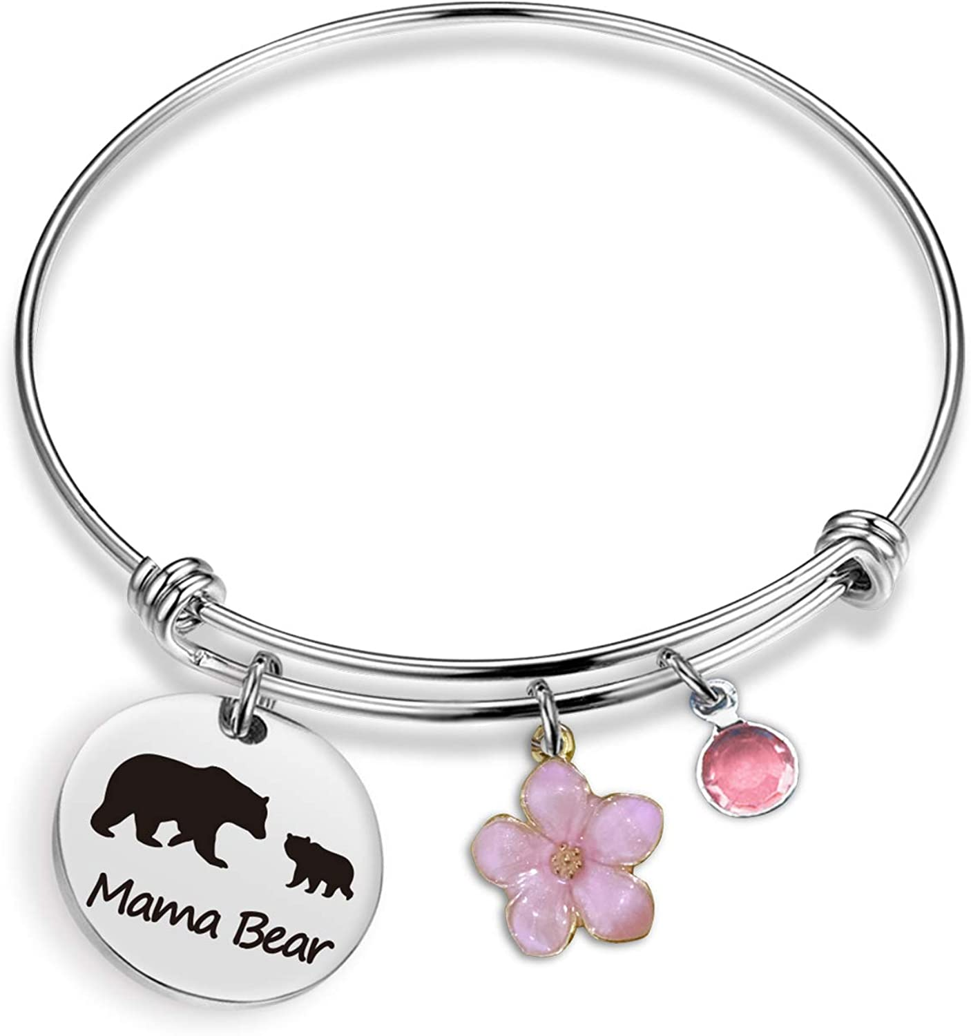 EIGSO Mama Bear Bracelet Sweet Family Personalized Mama Bear Jewelry for Mother Wife Grandma