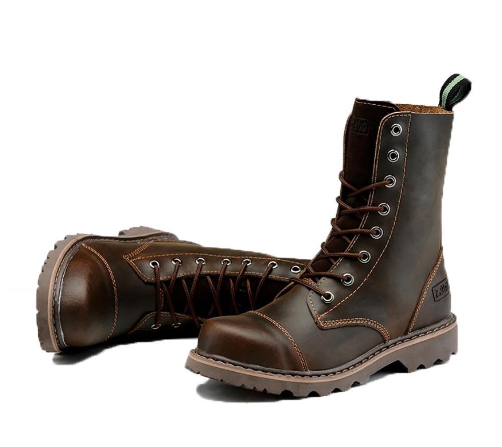 NANXZ Herren/Damen Herbst und Winter Leder Riemen High Top Martin brown Stiefel Draussen Schwarz Braun brown Martin 42635e
