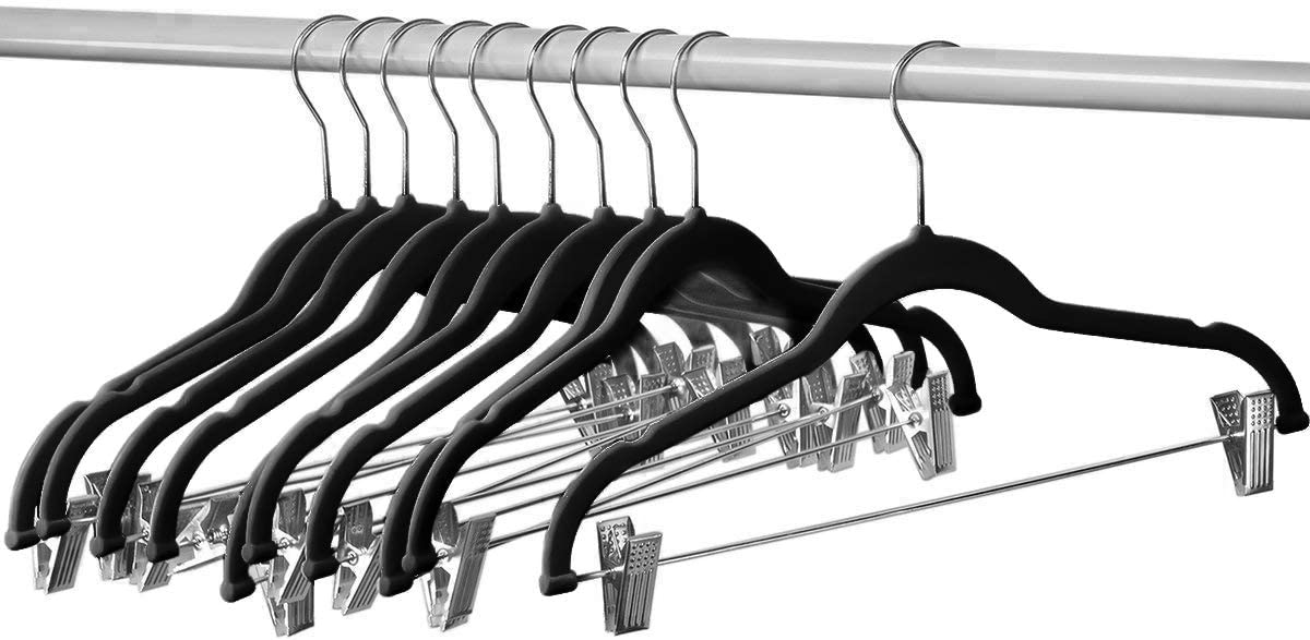 Home-it 50 Clothes Black Ultra Thin No Slip Hanger with Metal Clips