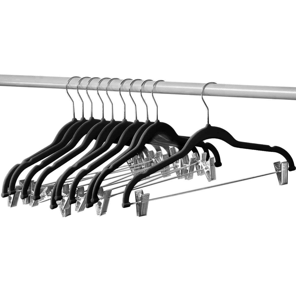 Home-it 50 Clothes Black Hangers Ultra Thin No Slip Hanger with Metal Clips …