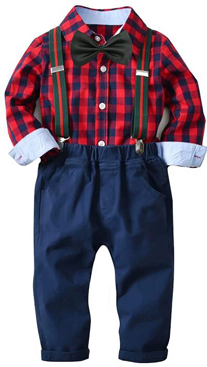 SUPEYA Toddler Baby Boys Gentlemen Long Sleeve Plaid Shirts Suspender Pants 2Pcs Set