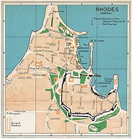 Amazoncom RHODES vintage town city map plan Dodecanese Greece