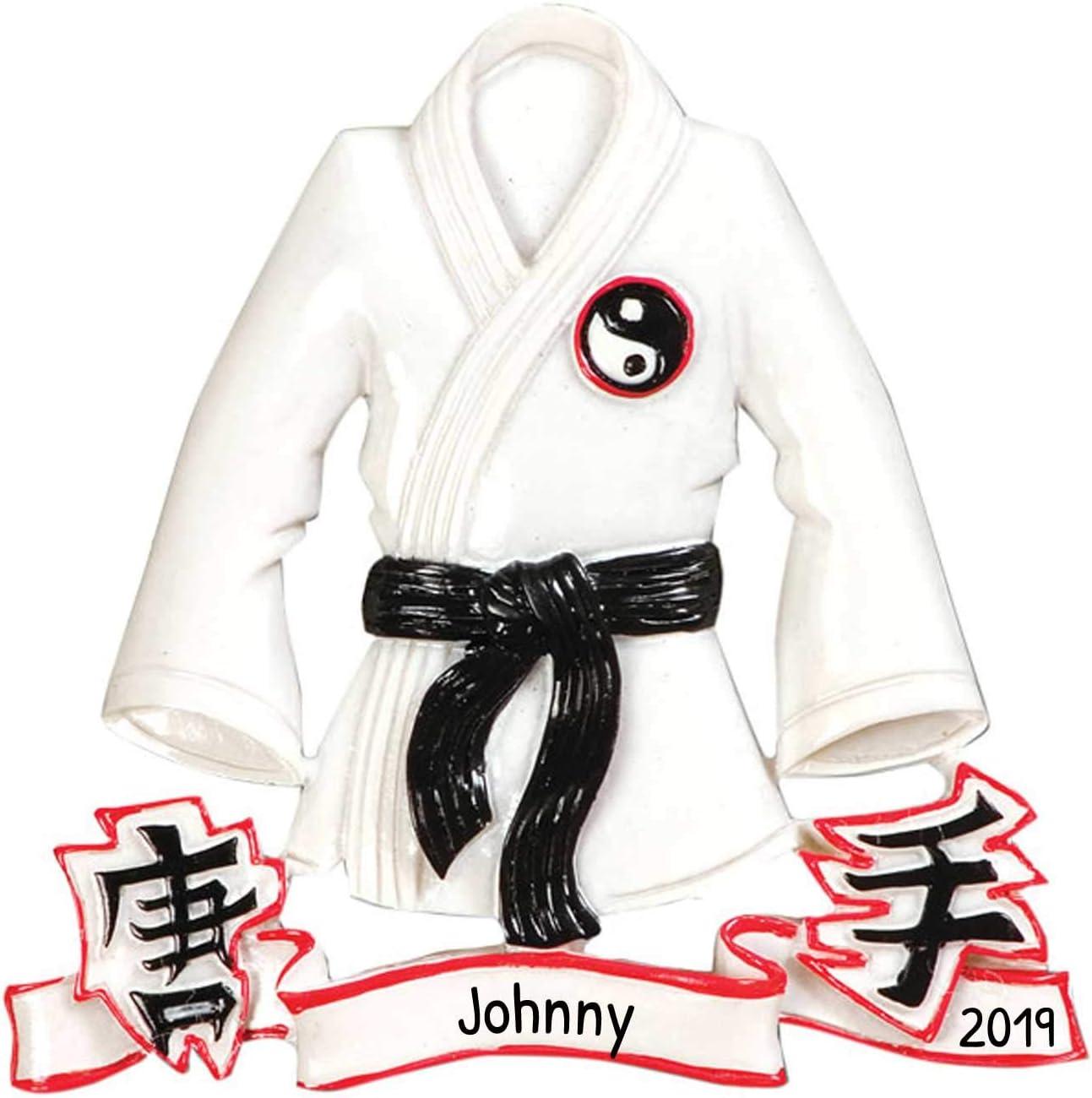 Personalized Karate Jacket Christmas Tree Ornament 2019 Martial Art Athlete Belt Training Ying Yang Kick Hobby Child Chinese Kung Fu White Crane Grand-Kid Strike Gift Year Free Customization