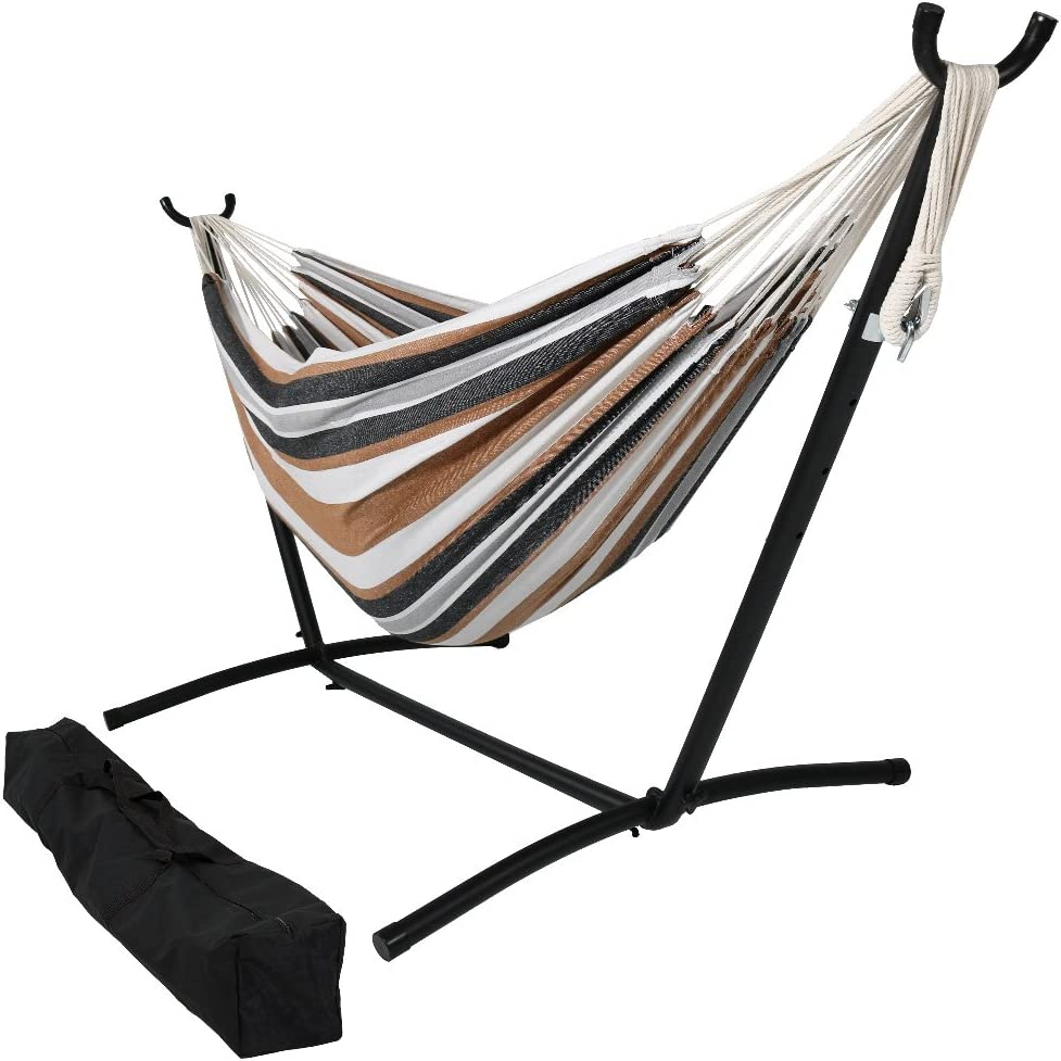 Sunnydaze 9 ft Steel Hammock Stand with Double Brazilian Hammock Combo - Calming Desert