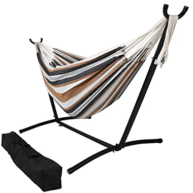 Sunnydaze Brazilian Double Hammock with Stand and Carrying Pouch, 2 Person Portable Bed - for Indoor or Outdoor Patio, Yard, and Porch (Calming Desert)