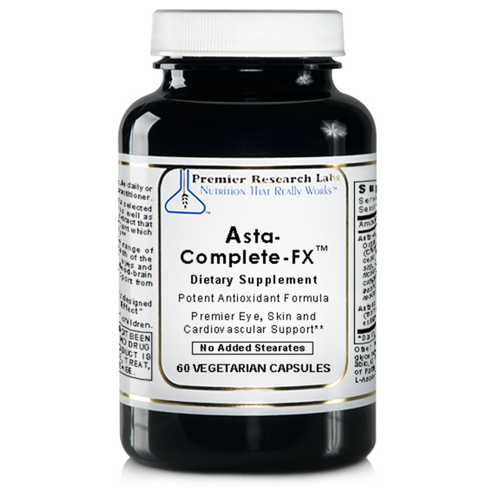 Asta Complete-FX TM, 60 Capsules, Vegan Product - Potent Antioxidant Formula with Algae-Based Astaxanthin for Premier Eye, Skin and Cardiovascular Support