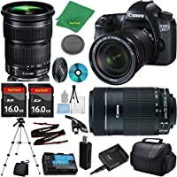 Canon EOS 6D Camera with 24-105mm IS STM Lens + 55-250mm STM + 2pcs 16GB Memory Card + Camera Case + Card Reader + Tripod + 6pc Starter Set - International Version