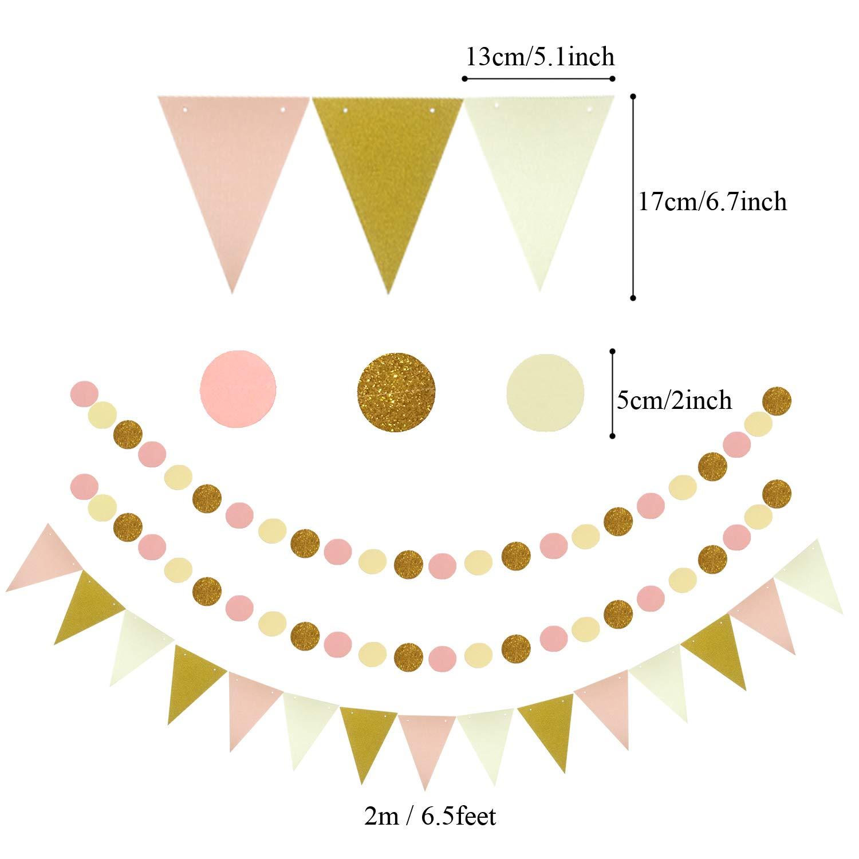 Dreieckige Wimpel und h/ängende Glitter Punkt Papier Girlande f/ür Party Hochzeit Geburtstag Festival Weihnachten Event Karneval 21 St/ück Aufh/ängen F/ächer Zerodeco Party Dekoration Papier-Bommeln