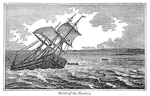 Pitcairn Island Nwreck Of Hms Pandora On The Great Barrier Reef Off Australia Aug 28 1791 While Searching For The Mutineers Of Hms Bounty Wood Engraving 1855 Poster Print by (18 x 24) - Hms Bounty Wood