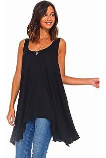 7276589a Simplicitie Women's Sleeveless Swing Flare Tunic Dress Tank Top - Regular  and Plus Size - Black