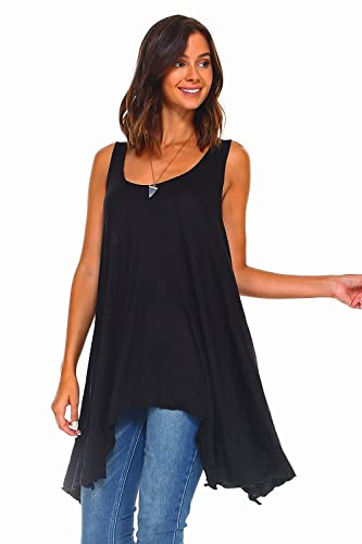 abdf0b69f1f Image Unavailable. Image not available for. Color: Simplicitie Women's  Sleeveless Swing Flare Tunic Dress Tank Top - Regular and Plus Size ...