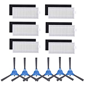 Replacement Parts Filters Side Brushes for RoboVac 11S & RoboVac 30 & RoboVac 30C & RoboVac 15C & RoboVac 12 & RoboVac 35C Vacuums Accessories- 6 Set Filters and 6 Side Brushes