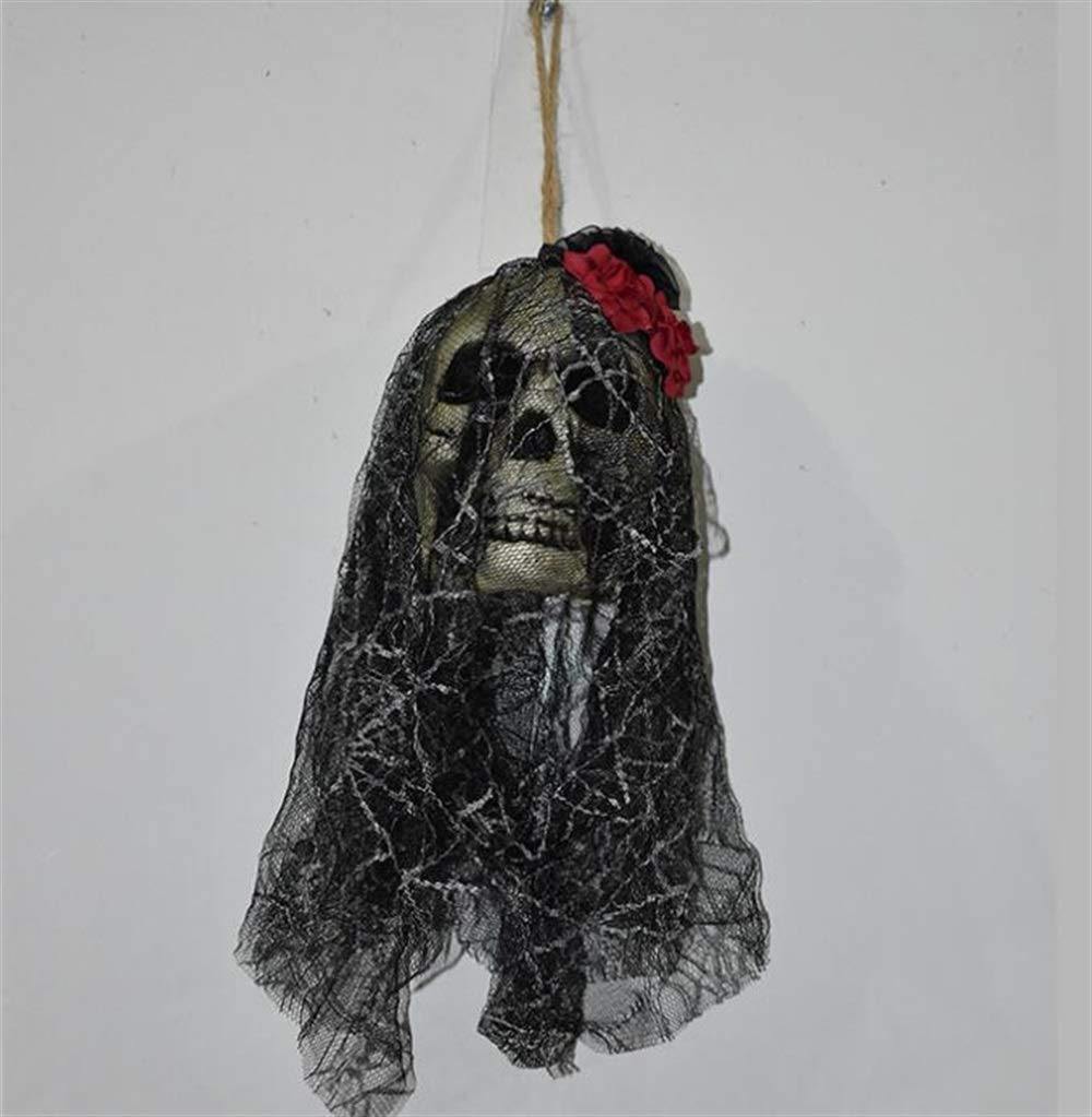 Yingealy Beautiful and Practical Halloween Scary Skull Hanging Ornament Ghost Skeleton Wall Prop Decorations Bar Decoration Props Hanging Ornaments