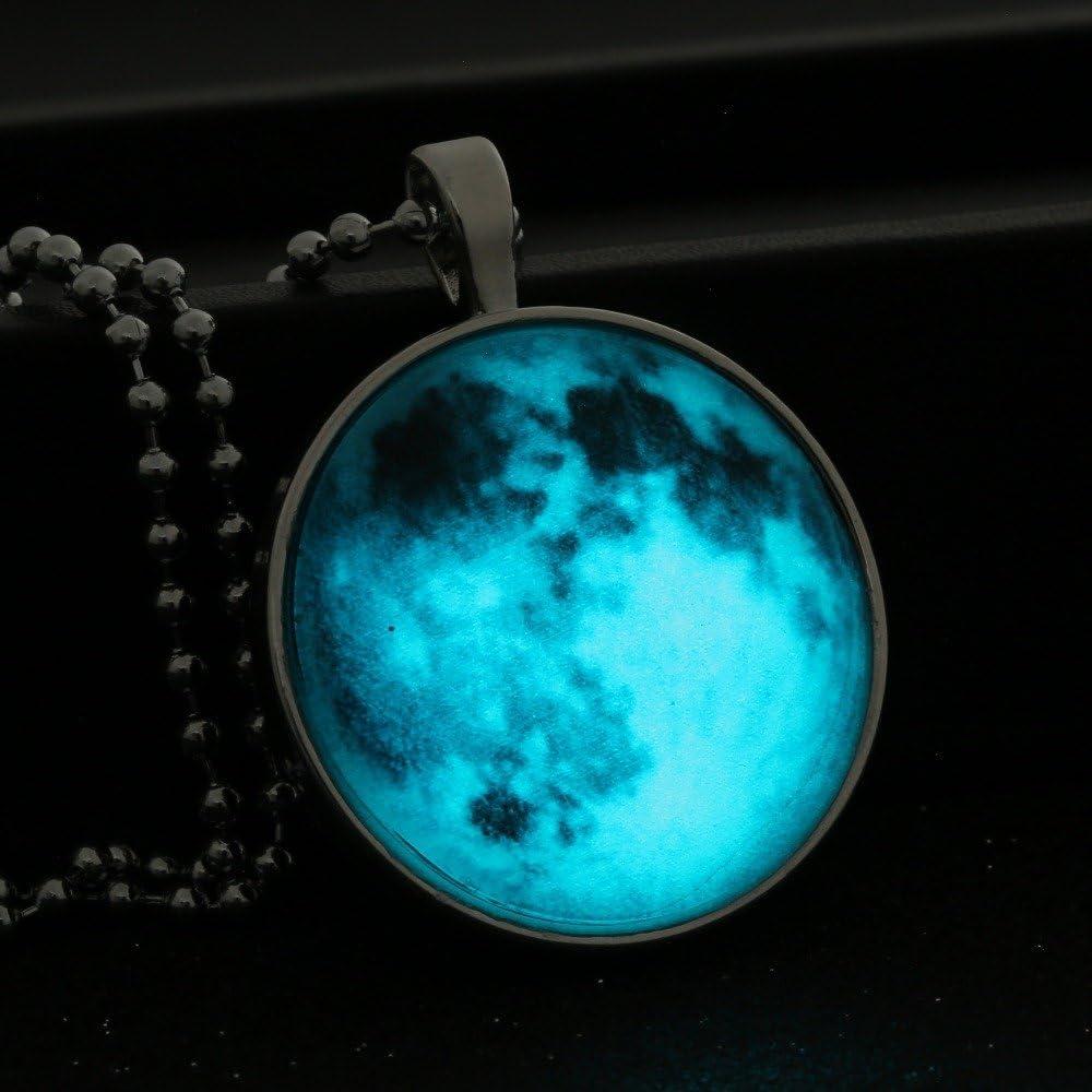 Glowing Pendant Blue Moon Glowing Necklace Glowing Jewelry Glowing Photo Pendant Glow in the Dark