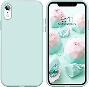 YINLAI iPhone XR Case, Slim Fit Liquid Silicone Non Slip Grip Rubber Cover Shockproof Hybrid Hard PC Back Protective Bumper Dust Proof Durable Girls Women Phone Case for iPhone XR 2018, Mint Green