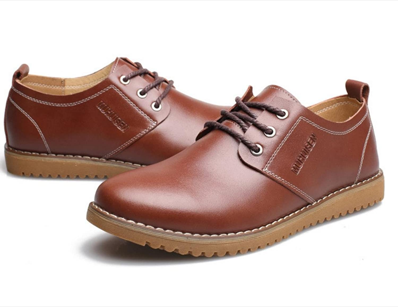 WZG chaussures en cuir décontractée de la Nouvelle-Angleterre hommes pour  aider à marée basse respirant chaussures de société occasionnels Flats 9.5  , brown ...