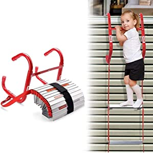 13 Feet Retractable Fire Escape Ladder - Portable Two-Story Emergency Kiddie Safety Window Ladder with Wide Steps, Center Support, & Anti-Slip Rungs