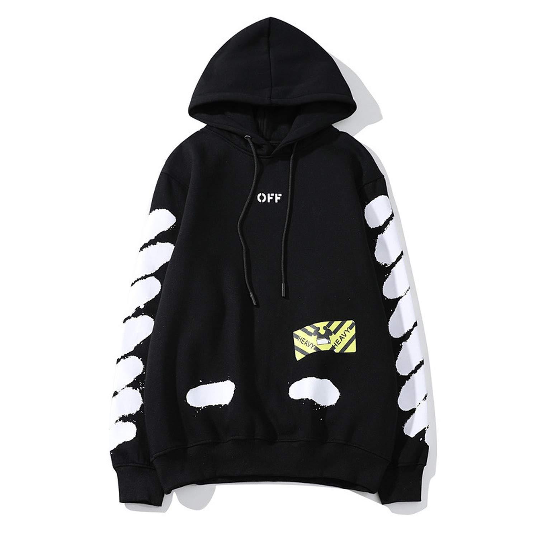 high Street Men and Women Street Hip hop Hoodie Splash Ink Diagonal Stripes Couple Hooded Jacket,Black,L
