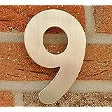 Numero de Maison n°9 - acier inox brossé - 15 cm - résistant aux intempéries - Installation facile