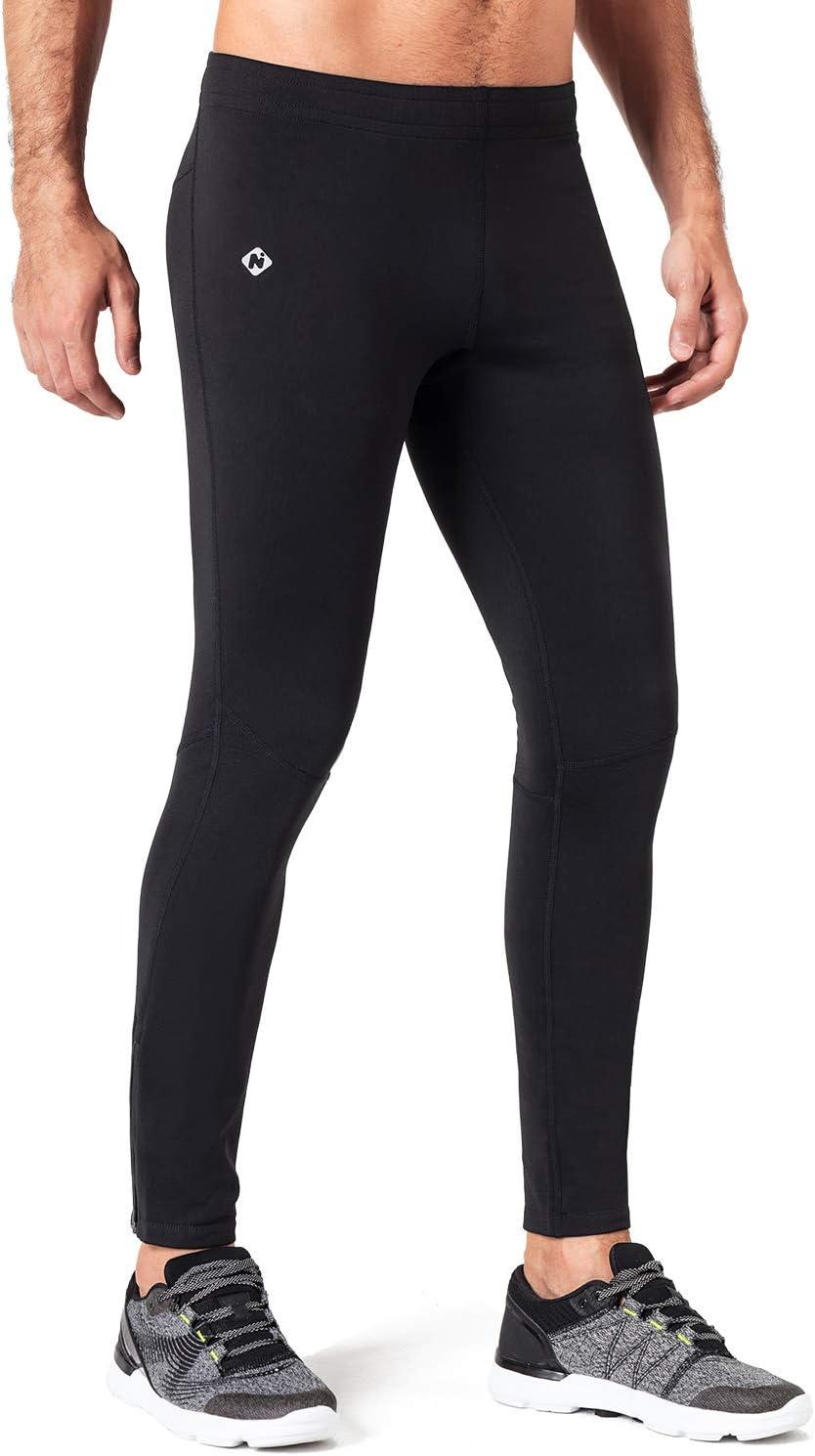 NAVISKIN Collants en Polaire Pantalons Thermique de Course pour Femme Noir