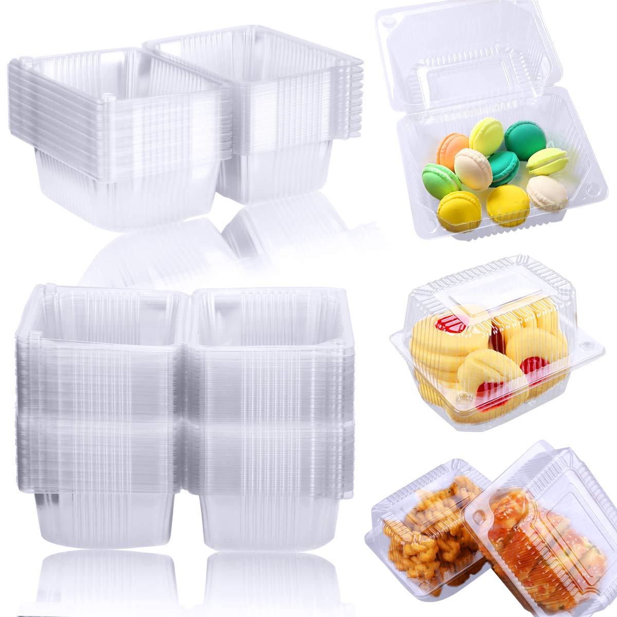 Twdrer 100PCS Clear Plastic Square Hinged Food Container,Disposable Clamshell Fruit Salads Hamburger Sandwiches Cupcake Cups Holders Cases Boxes Containers with Lids(5.3