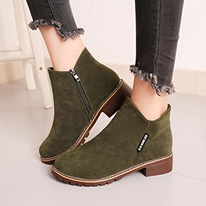 Hemlock Women Dress Flat Shoes, Womens Women Boots Shoes Casual Outdoors  Winter Shoes (US6.5, Army Green)