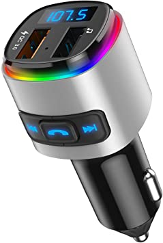 SD Card Quick Charge 3.0 Dual USB Ports 7 Color RGB LED Backlit Bluetooth Car Radio Adapter Handsfree Car Kit V5.0 Bluetooth FM Transmitter for Car 2019 New Support USB Flash Drive