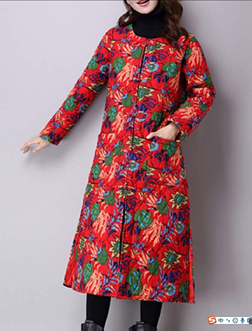 YUNY Women Fall Winter Frog Button Ethnic Style Warm Quilted Jacket Red M