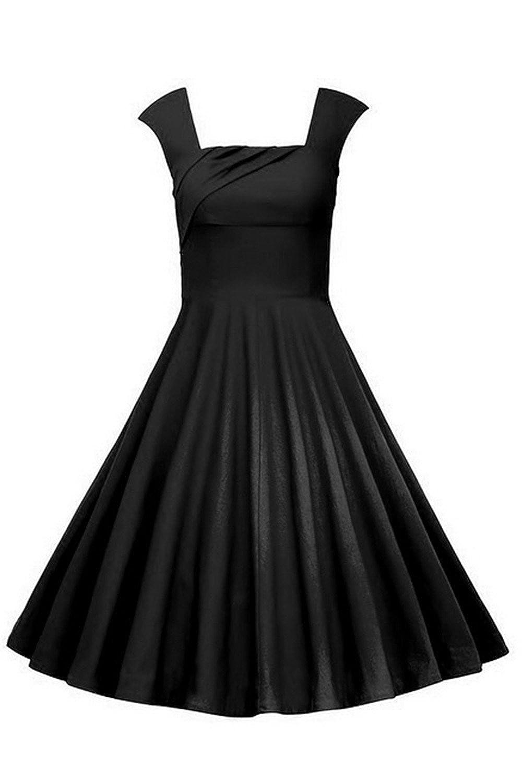 MisShow Womens 1950s Cap Shoulders Floral Rockabilly Swing Dress