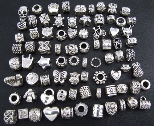 wm-king-antique-silver-plated-oxidized-metal-beads-charms-set-mix-lot-compatible-with-pandora-biagi-