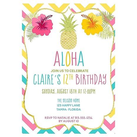 Amazon.com: Aloha, fiesta de cumpleaños Invitaciones, las ...