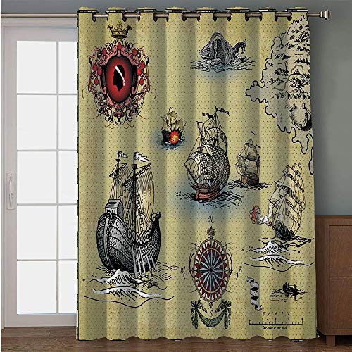 """iPrint Blackout Patio Door Curtain,Compass,Antique Old Plan Discovery Ship Pirate Wave Compass Navigation Geography Theme,Beige Red Grey,for Sliding & Patio Doors, 102"""" W x96 L"""