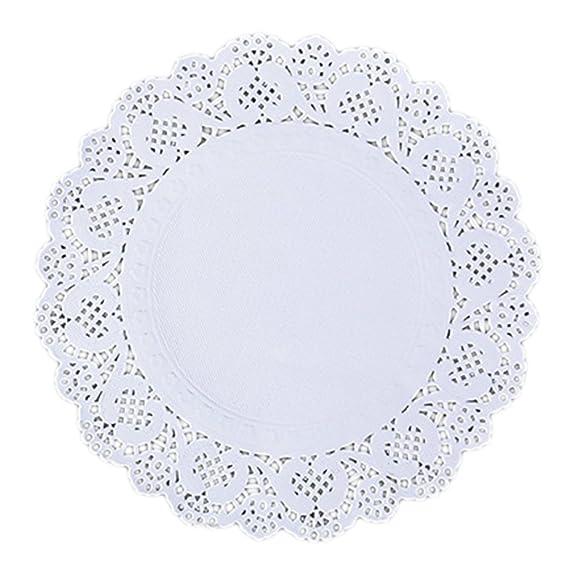 Dealglad 150 pcs blanco papel de encaje blondas embalaje almohadillas para tarta de Boda vajilla decoración 24 cm/9,5