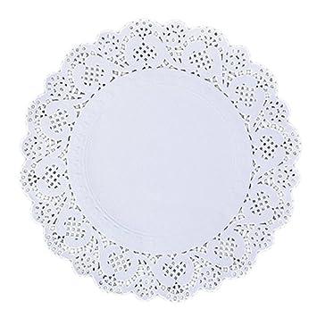 Dealglad 150 pcs blanco papel de encaje blondas embalaje almohadillas para tarta de Boda vajilla decoración