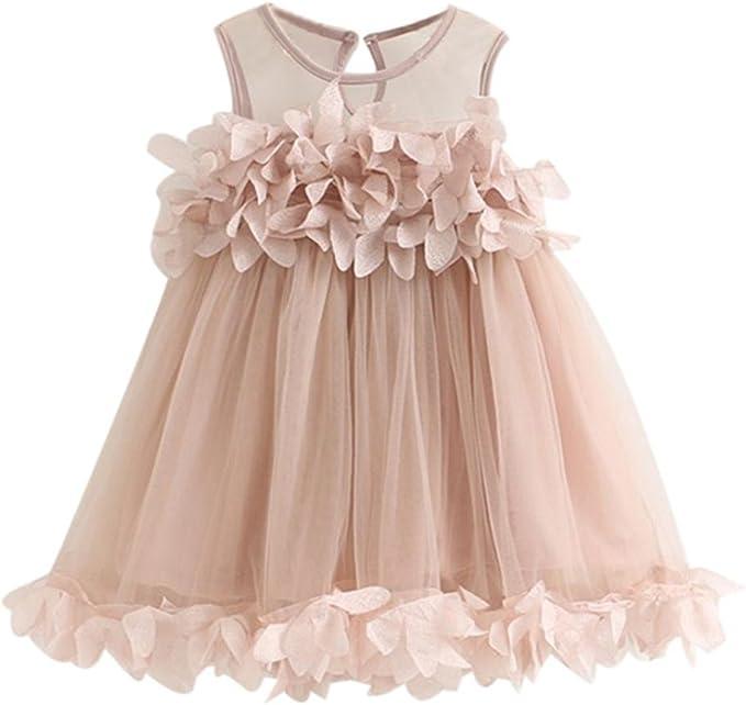 LZH Baby Kleid M/ädchen Kleider Prinzessin Mit Schleife 3//4 /Ärmel F/ür Geburtstag Hochzeit Tutu Prinzessin Blume Spitzenkleid