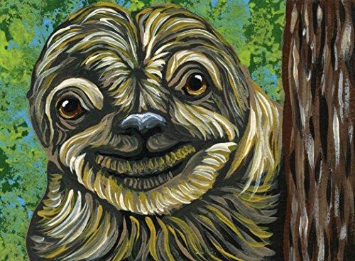 ACEO Sloth Animal Wildlife Original Art Painting-free shipping-Carla (Aceo Original Art)