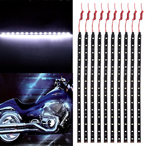 OCPTY Motorcycle LED Strip Light, RGB 30CM 15-SMD White Accent Glow Neon Lights Lamp Waterproof Turn Signal Light Replacement fit for Pickup SUV Jeeps RV Dodge Ram Toyota Chevy GMC,10 Pack