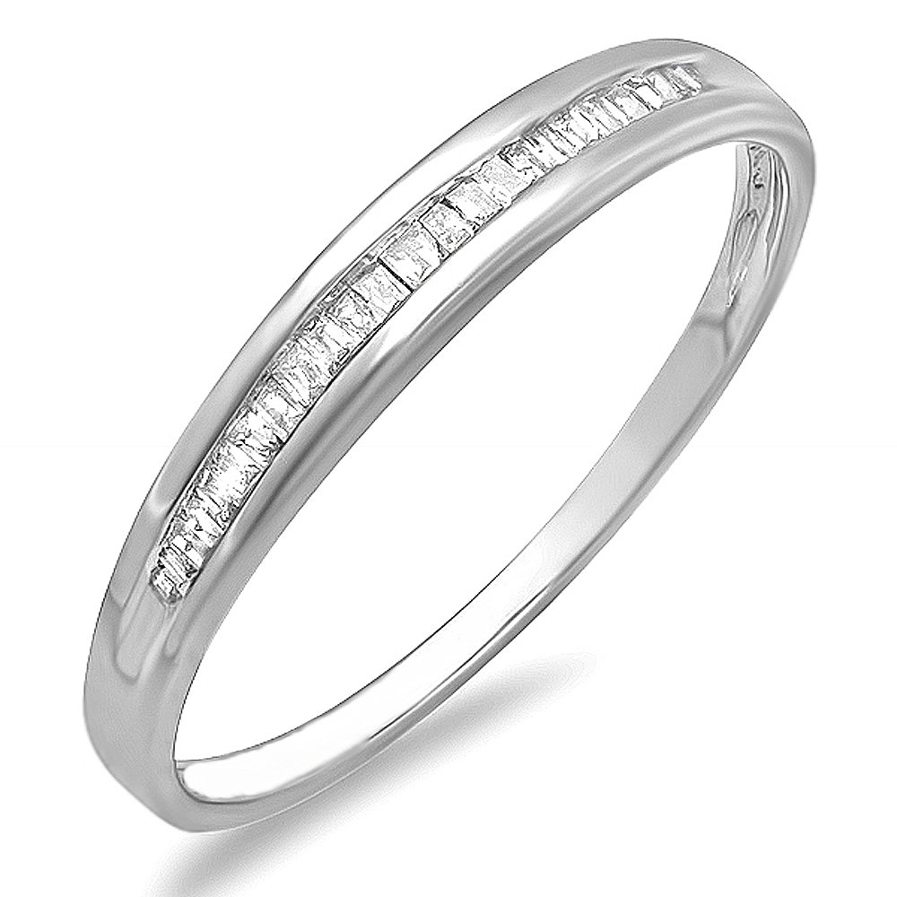 0.15 Carat (ctw) Dainty Sterling Silver Ladies Baguette Diamond Anniversary Wedding Band Stackable Ring