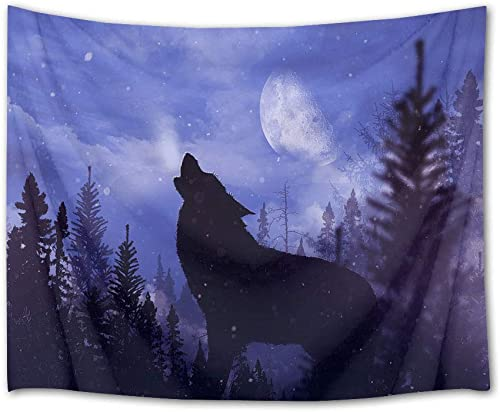 HVEST Wolf Tapestry Wild Predator Howl in Jungle Wall Hanging Full Moon Night Scenery Wall Tapestries for Bedroom Living Room Dorm Wall Decor,92.5Wx70.9H inches