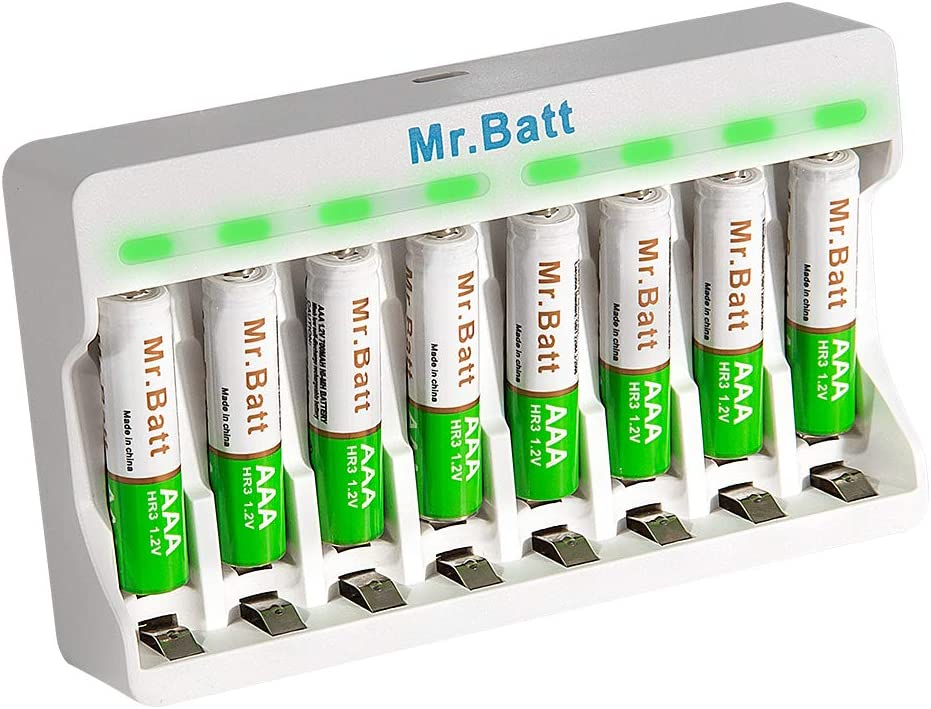 Rechargeable AAA Batteries 8 Pack, Mr.Batt NiMH AAA Batteries with Smart AA AAA Rechargeable Batteries Charger