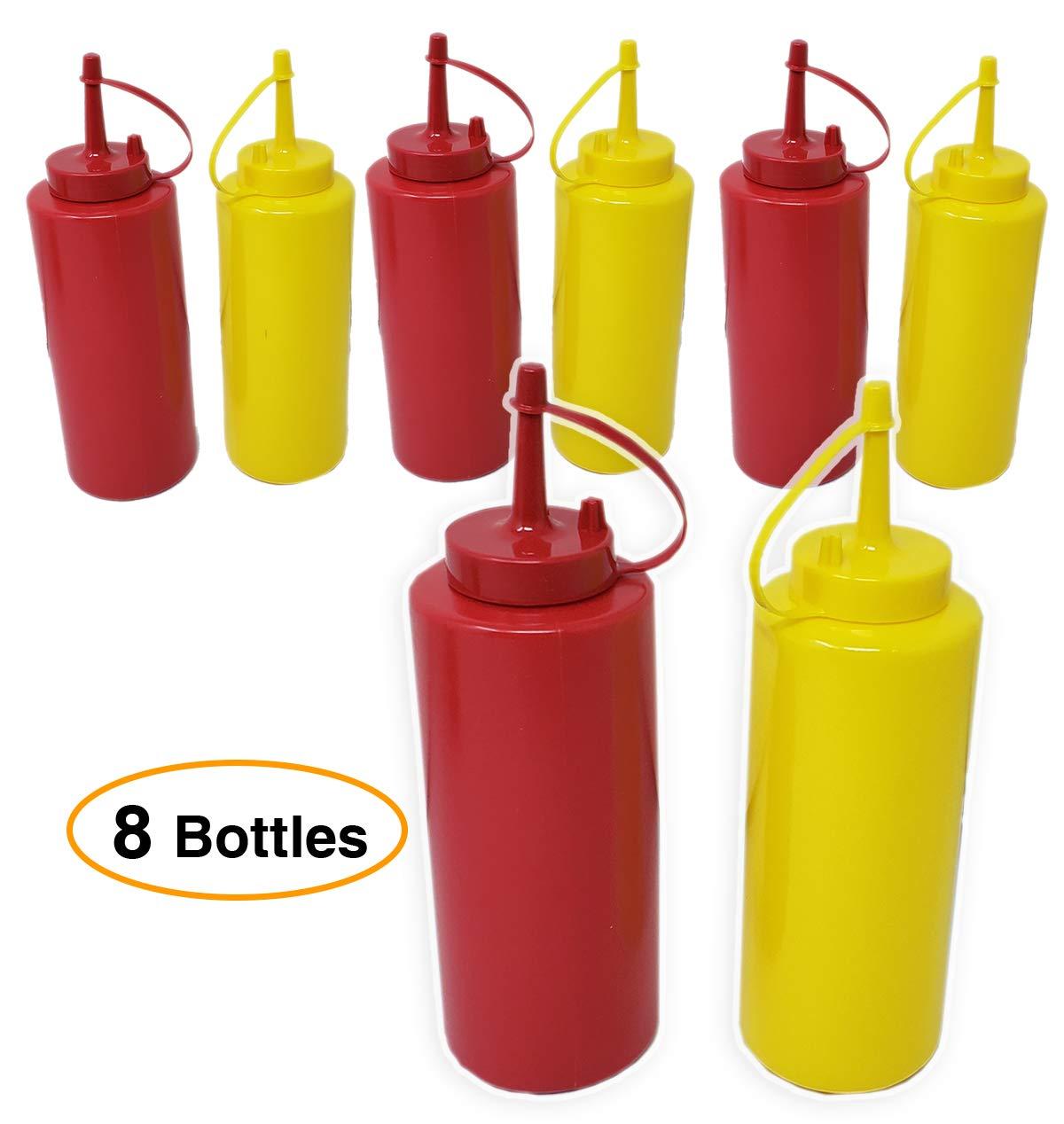 Ketchup & Mustard Dispensers No Drip, Set, 4 -pack (8 bottles) – 12 oz Durable With Lid/Cap Premium Plastic Squeeze Squirt Condiment Bottles