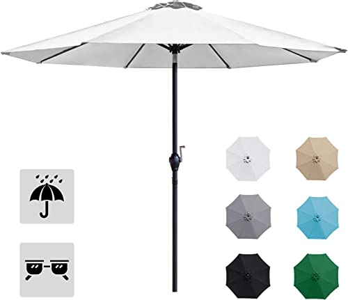 Homall 9 Patio Umbrella Table Umbrella Outdoor Market Straight Umbrella with Tilt Adjustment, 8 Sturdy Ribs White