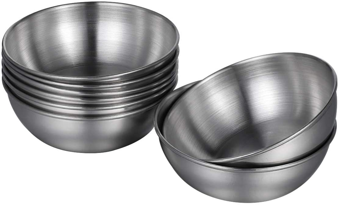 Hemoton 8pcs Stainless Steel Sauce Dishes Round Seasoning Dishes Sushi Dipping Bowl Saucers Bowl Mini Appetizer Plates Seasoning Dish Saucer Plates 3.15 Inch