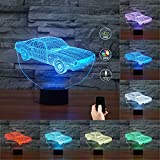 3D Illusion Muscle Car Shaped Soft Multi-colored Change Remote Control LED Table Desk Night Light for Home Bedroom Decorations USB Powered or Battery Powered (Muscle Car)