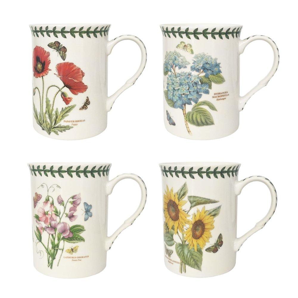 Botanic Garden Set of 4 Mugs, Porcelain, Multi-Colour, 8.5 x 12 x 10.5 cm Portmeirion BG8581-XG