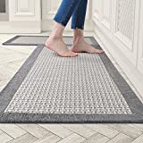 """Kitchen Rugs and Mats Non Skid Washable, Absorbent Rug for Kitchen, Large Kitchen Floor Mats for in Front of Sink, 2 PCS Set 20""""x32""""+20""""x48""""(Gray)"""