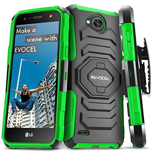 LG X Power 2 / LG X Charge/LG Fiesta 2 / LG Fiesta LTE Case, Evocel [New Generation Series] Belt Clip Holster, Kickstand, Dual Layer for LG Fiesta LTE / M327 / L63BL / L64VL / US701, Green