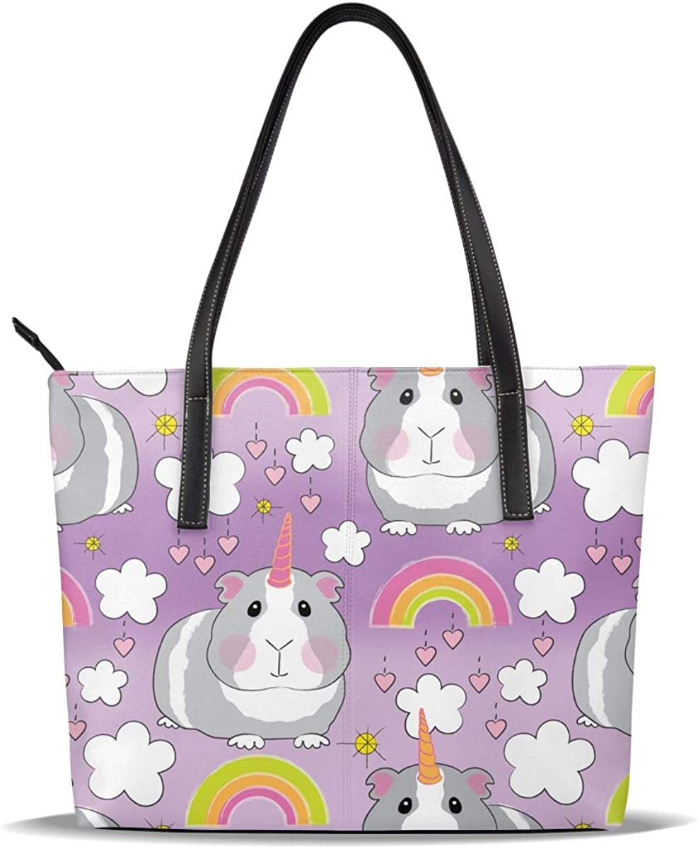 Purple Unicorn Rainbow Guinea Pig PU Leather Printed Pattern Casual Handbags Shoulder Tote Bag Purse For Women Girls Vintage Tote Shopping Bags