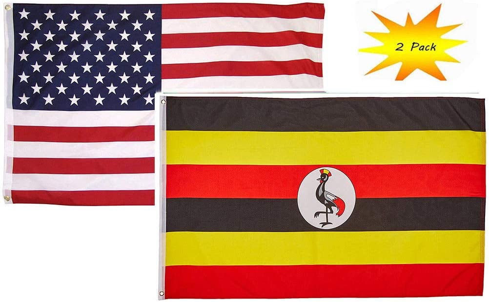 ALBATROS 2 ft x 3 ft 2inx3' Set (2 Pack) USA American with Uganda Country Flag Banner for Home and Parades, Official Party, All Weather Indoors Outdoors